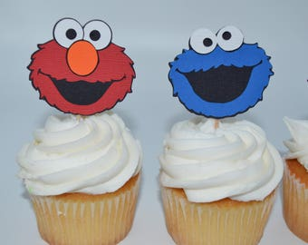 Cookie Monster cupcake topper, cookie monster, Sesame Street party, cookie monster party, cookie monster cupcakes, sesame street