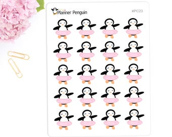 Dance Penguin Stickers For Erin Condren Life Planner, EC Horizontal or any other Planner// #PC23