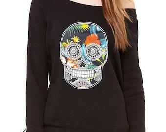 Sugar Skull Floral Print Dia De Los Muertos Slouchy Off Shoulder Oversized Sweatshirt