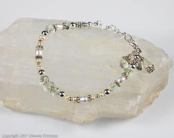 Prasiolite, Pearl and Sterling Silver Bracelet