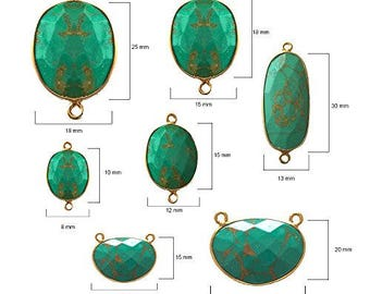 BLUE TURQUOISE OVAL 10X15 mm gold double s