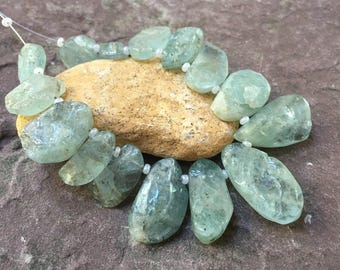 aquamarine focal stones, handmade, top drilled, faceted, raw stone
