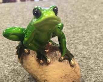 Beautiful Handmade Resin Frog on Rock