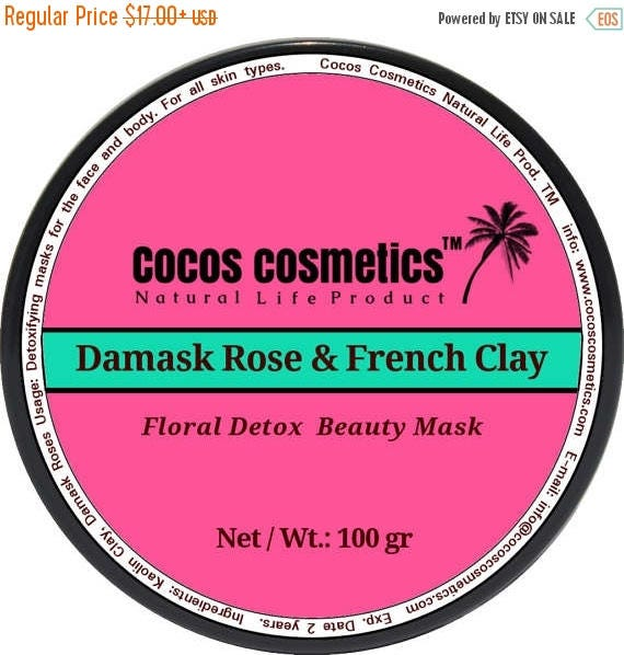 Damask Rose and French pink clay - Detox -Anti-Aging - Whitening face mask - Facial Rose Mask - Floral Rose Mask - Rose Clay Mask