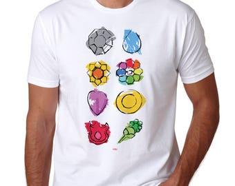 Pokemon Badge T-Shirt - Original Kanto Region