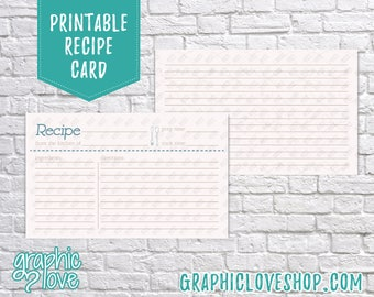 Printable Fork & Spoon 3x5 Double Sided Recipe Card   Wedding, Bridal Shower Gift   Digital JPG Files, Instant Dowload, File NOT Editable