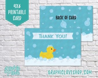 Printable 4x6 Rubber Duck Thank You Card - Folded & Postcard   Digital High Res JPG File, Instant Download, Ready to Print, NOT Editable