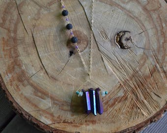 Titanium Aura Diffuser Necklace // Gold Fill // Lava Rock // Go with the Flow // Vitality // Humor // Relaxation