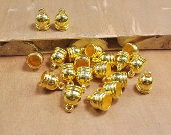 50Pcs Gold End Cap,plastic End Cap,Top,Tube End Caps,string cord caps, tassel caps, Leather Cord cap,Gold Findings,10x15mm