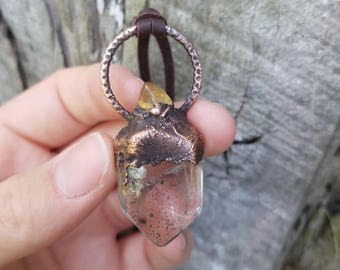 Quartz Point Copper Necklace-Lodolite Quartz Necklace-Quartz Crystal Point Necklace-Quartz Copper Necklace-Bohemian Quartz Necklace