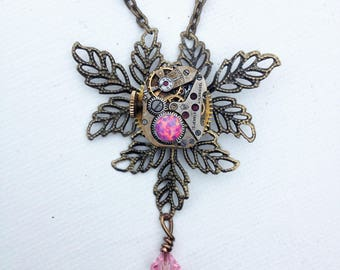 Delicate pink steampunk necklace