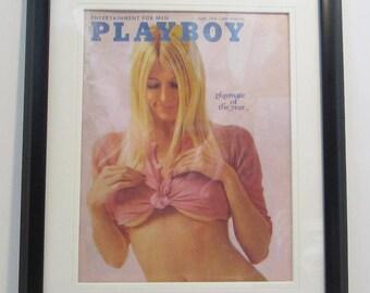 Vintage Playboy Magazine Cover Matted Framed : June 1972 - Liv Lindeland
