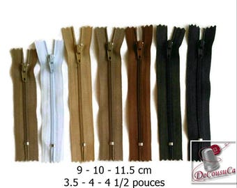50%, (1.10 reg), 9 - 10- 11.5cm, zipper, #3, 3.5, 4, 4.5 inchs, varied size, nylon, perfect for wallets, clothing, repair, creation,