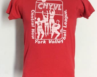 Vtg 80s Central New York Volleyball T-Shirt Red S Rice Krispies Hanes 50/50
