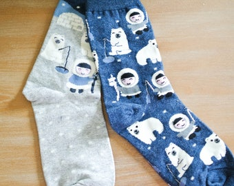 Polar Bear and Eskimo Mix and Match Crew Socks/Gift for Teen/Gift for Friend/Cotton Blend/Comfortable/Casual/Gift for a Girl/Gray/Black/Blue