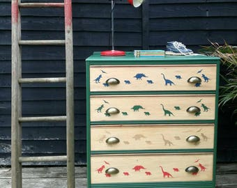 SOLD*** Vintage retro chest of drawers with dinosaurs