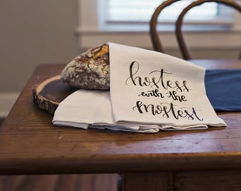 Hostess with the Mostest Hand Lettered Decorative Tea Towel PREORDER