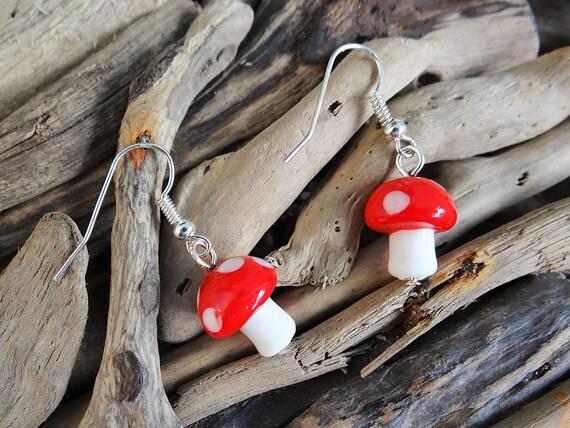 Lampwork Glass Fairy Mushroom Toadstool Earrings Mario Fairies Fae Toad Stool Elf Elves Pixies Magic Magical Faery Earring Ear Ring Rings