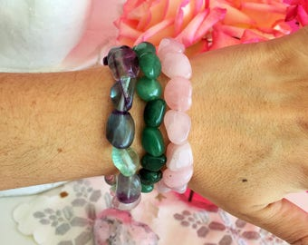 Love Bracelet Set w/ Reiki/ Love Crystals Healing Jewelry
