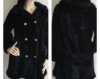 60s Vintage Faux Fur Black Double Breasted Coat - Small