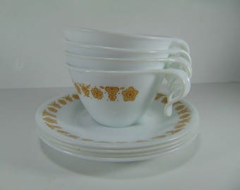 Vintage Corelle Corning Ware Pyrex Gold Butterfly Cups and Saucers, Set of 4