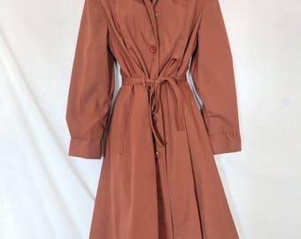 Vintage 1970's Rust Red Trench Coat