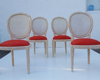 Vintage Hollywood Regency  Faux Bois  Carved Wood  Dining Chairs Set Of 4.