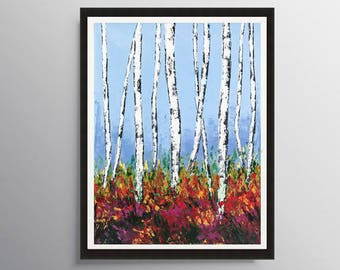 Birch tree art, Birch tree print, Aspen tree art, Abstract Art Prints, Colorado Painting, Modern art, Decor, Giclee Print, Housewarming gift