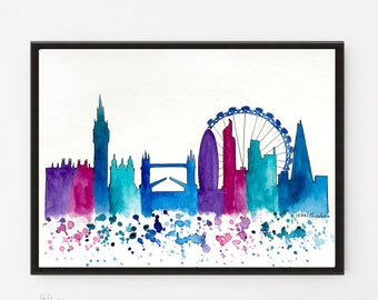 London Skyline, City Art, London Print, Watercolor Painting, Illustration, Travel Illustrator, Modern Wall art, Home Decor, Holiday Gift.