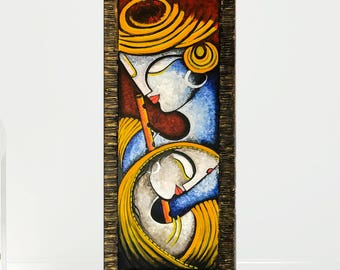 Radha Krishna, Asian art, Indian decor, India painting, Indian art, Hindu God, Art decor, Contemporary art, Indian canvas art, Krishna art