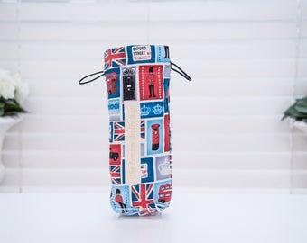 London Scenes  Iconic Blue Umbrella Bag/Brolly Bag. Waterproof bag. Rain bag. London landmarks