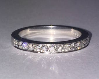 18K White Gold & Diamond Band by Anton Jewelers. Total diamonds' weight: 0.80ct.