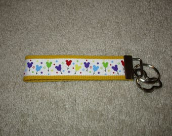 MiCKeY MouSe BaLLooNS Custom Boutique KEY CHAIN Fob Yellow Head