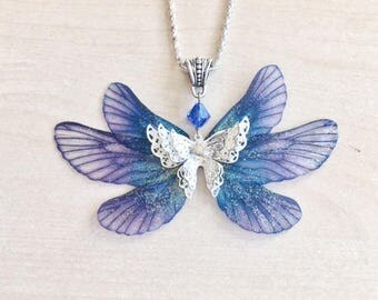 Necklace fairy blue butterfly with transparent wings and Swarovski Crystal