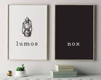 Lumos and Nox Poster, Harry Potter Poster, Harry Potter Spell, Poster Set, Art Print