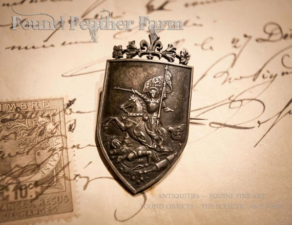 Stunning Pewter Silver Joan of Arc French Antique Pin Dated 1894