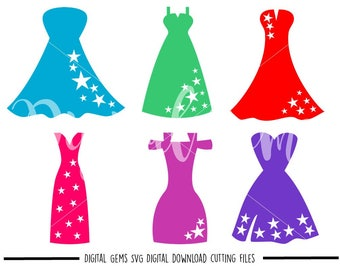 Dress svg / dxf / eps / png files. Digital download. Compatible with Cricut and Silhouette machines. Small commercial use ok.