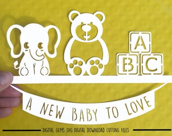 New baby paper cut svg / dxf / eps / files and pdf / png printable templates for hand cutting. Digital download. Commercial use ok.