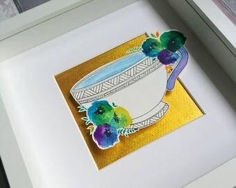 framed illustration, afternoon tea, original artwork, papercut art, layered papercut art, box frame art, paper cut art