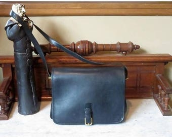 Back To School Sale Coach Saddle Pouch 'Large' In Black Leather- Style No. 9585 - Made In New York City At 'The Factory'- VGC