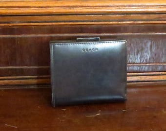 Coach Polished Calfskin Mini Frame Wallet In Black With Nickel Hardware And Kisslock Coin Purse - Style No 7891- VGC