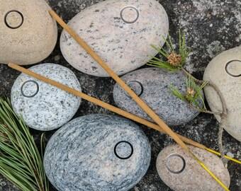 Meditation Altar Incense Holder - Sacred Space - Beach Stone Incense Burner - Coastal Rustic Home Decor