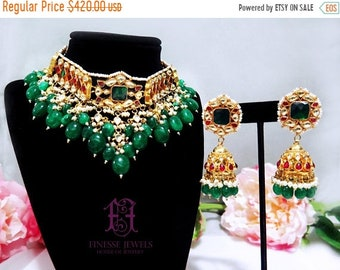 ON SALE Red Green Kundan Choker Necklace, Indian Jewelry, Kundan Jewelry, Indian Necklace Set, Kundan Necklace set,Kundan,Polki,Indian,Choke