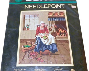 1982 Sunset Needlepoint The Country Woman Kit 6530