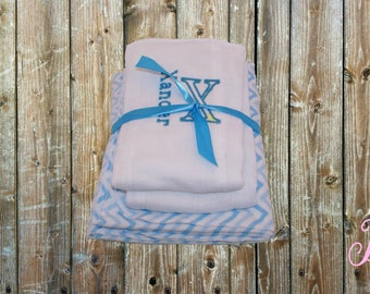 Baby Boy Shower Gift Set - Personalized Receiving Blanket and Burp Cloths