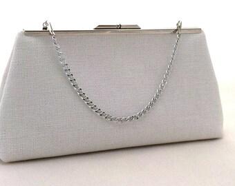 White Linen  Handbag Purse Clutch ~ White Bride Clutch ~ White Bride Purse