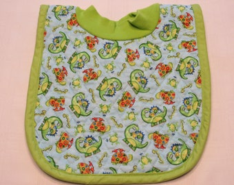 Turtles, Frogs and Dinosaurs Pop-on Quilted Baby Bib