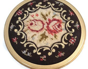 vintage french tapestry compact powder  - needle point compact