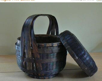 ON SALE Vintage Chinese Sewing Basket with Handle, Reed and Bamboo Woven Basket with Cover, Storage Basket w Lid, Vintage Basket