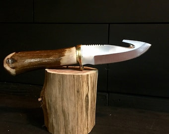 Stag Handle Gut Hook Hunting Knife w/Leather Sheath